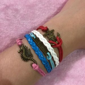 Anchor multilayer leather bracelet